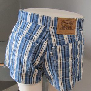 NWOT Levi's 912 Slim Fit Blue Plaid Shorts Size 7
